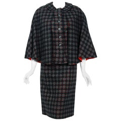 1940's Irene Lentz Couture Plaid Cut-Out Wool Winged Capelet Jacket & Skirt Suit