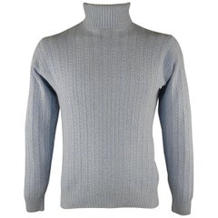 6f68f67d9f37 BERGDORF GOODMAN Size S Blue Cable Knit Wool / Cashmere Sweater