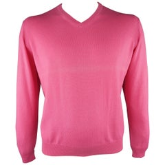 FACONNABLE Size M Pink Solid Silk / Cashmere Pullover Sweater