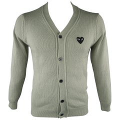 COMME des GARCONS Size M Moss Knitted Cotton Buttoned Cardigan