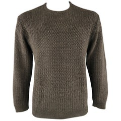 ERMENEGILDO ZEGNA Size L Brown Knit Wool / Cotton Sweater
