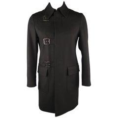 JOHN BARTLETT 38 Black Solid Wool Long Coat