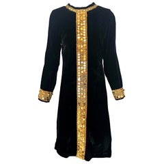 1960s Black + Gold Velvet Sequined Vintage 60s Long Sleeve Shift Tunic Dress