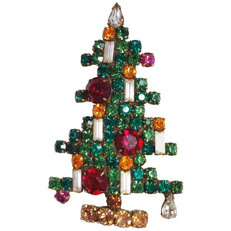 66c63026d59 Vintage Weiss Geometrical Crystal Christmas Tree Pin in Green Red Yellow &  White For Sale