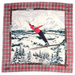 1980's Ralph Lauren Novelty Winter Ski Scarf Plaid Wool