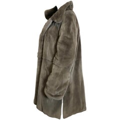 Sheared velvet mink fur 3/4 jacket, coat. Light gray.