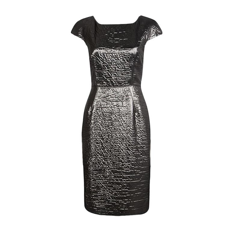 Dolce and Gabbana Metallic Cap Sleeve Sheath Dress M For Sale