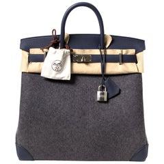 Hermès Birkin HAC Haut a Courroies 40 Feutre / Togo Gris Moyen / Bleu Nuit
