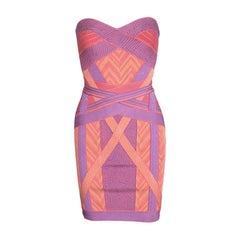 Herve Leger Colorblock Arden B Chevron Pattern Strapless Bandage Dress S