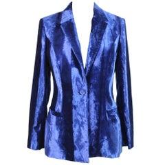 Gianni Versace Jacket Tuxedo Velvet Cotton Vintage Blue, 1990s