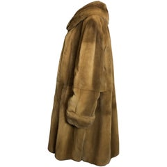 Sheared velvet mink fur by Marco Gianotti 3/4 jacket, coat. Tan/beige.