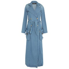 Balmain Double-Breasted Denim Trench Coat