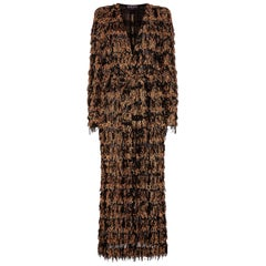 Balmain Metallic Tweed Fringe Long Cardigan