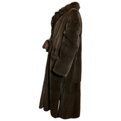Sheared velvet mink fur long coat modern cut. Dark brown.