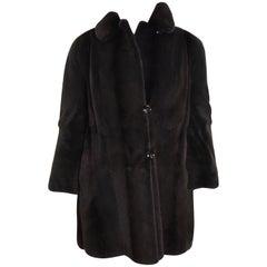 Sheared velvet silk mink fur jacket by FECHNER. Black/dark gray. (6)