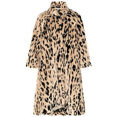 Balenciaga Oversized Animal Print Faux-Fur Coat