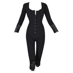 C. 1992 Jean Paul Gaultier Button Down Pin-Up 1940's Style Jumpsuit Catsuit