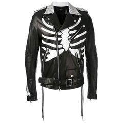 Amiri Studded Skeleton-Painted Leather Moto Jacket