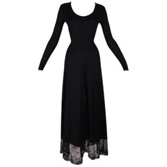 Unworn F/W 1993 Dolce & Gabbana Runway Black L/S Mesh Trim Gown Dress