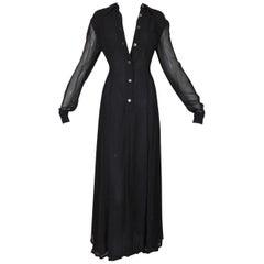 1990's Fendi Sheer Black L/S A-Line Button Down Gown Dress