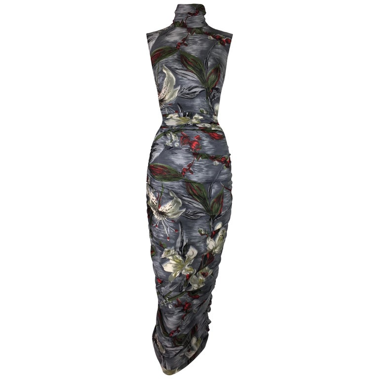 S/S 2001 Dolce & Gabbana Runway Semi-Sheer Gray Silk Ruched Wiggle Dress