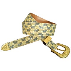 Hermès Vintage Leather Belt Zebras Pattern Tropiques Ghw Size 70 RARE