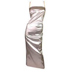 F/W 1998 Dolce & Gabbana Liquid Silver Long Corset Ruched Wiggle Dress