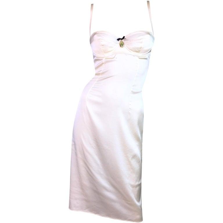 2003 Dolce & Gabbana Ivory Silk Satin Madonna Charm Bra Slip Style Dress