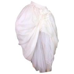 1992 Dolce & Gabbana Ivory Victorian Bustle Tulle Flower Long Skirt