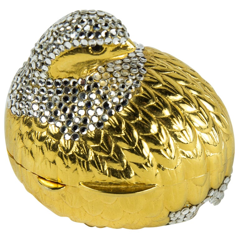 Judith Leiber Faux Diamond Quail Bird Pill Box For Sale