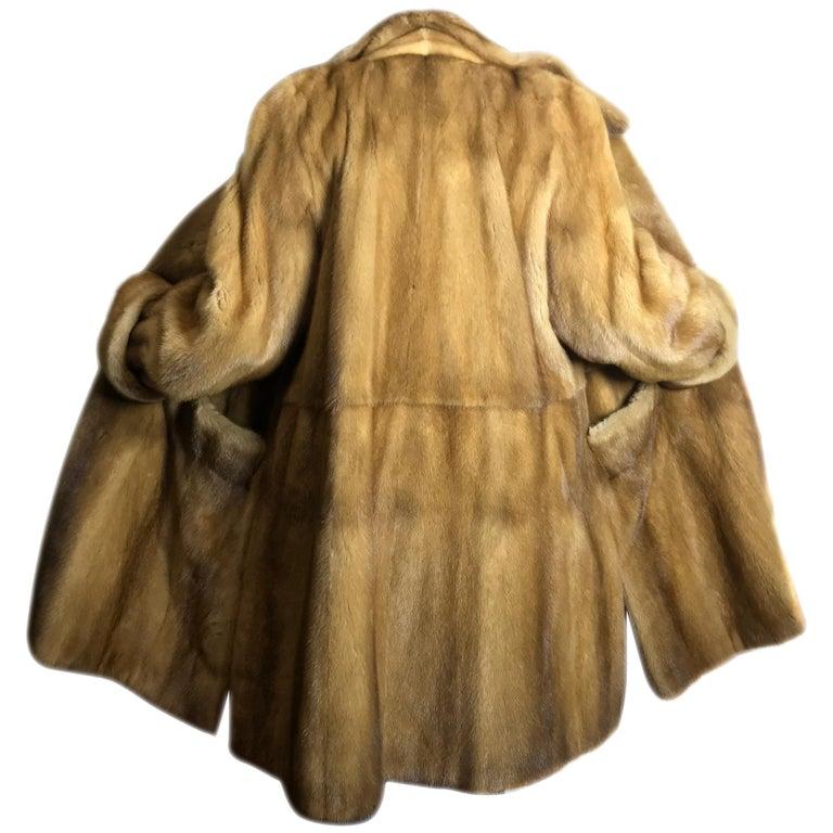 Saga mink silk fur 3/4 jacket / coat. Tan/beige. Gold mink. (9) For Sale