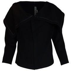Morgane Le Fay Black Camel Hair Open Jacket W/ Sailor Collar Sz S