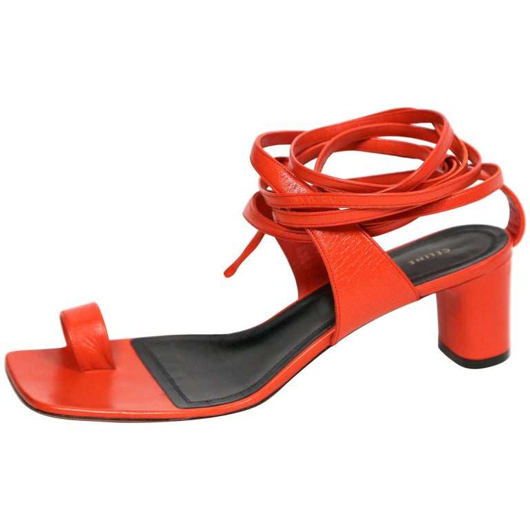 46ed20a1a72 CELINE by PHOEBE PHILO red leather wrap around runway sandals at 1stdibs