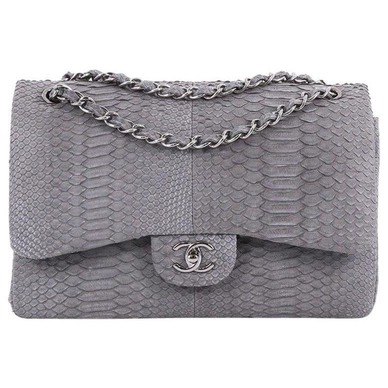 32e361fef655 Chanel Classic Double Flap Bag Matte Python Jumbo at 1stdibs