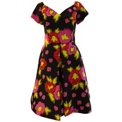 1980s Scaasi Silk Floral Dress w/Inverted Pleat