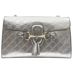 Gucci Metallic Guccissima Leather Emily Chain Shoulder Bag