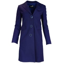 Love Moschino Blue Cotton Coat W/ Bow & Whipstitch Buttons Sz 6