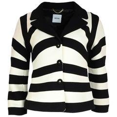 Moschino Black & White Stripe/Chevron 3/4 Sleeve Jacket Blazer Sz 8