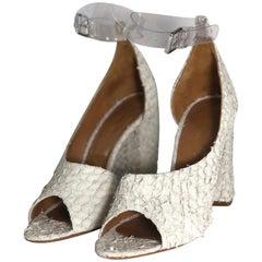 3.1 Phillip Lim Leather Textured Peep Toe Heel with Chunky Block Heel
