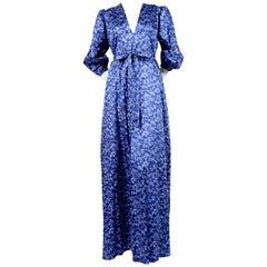 1970's YVES SAINT LAURENT blue floral printed maxi dress