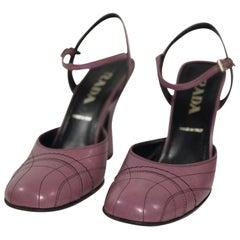 Prada Capretto Fume Petalo Decorative Stitch Mary Jane Pump Chunky Flair Heel