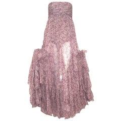 Balmain Strapless Lavender & Pink Sheer Silk Ruched Bodice W/ Ruffles Dress