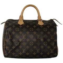 Louis Vuitton Monogram Speedy 30 Top Handle Tote Handbag