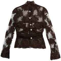 Valentino Brown Lace Jacket W/ Crystal Buttons & Satin Trim Sz 4