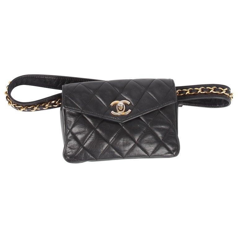 Chanel Gurtel Leder Tasche Schwarz Gold Im Angebot Bei 1stdibs
