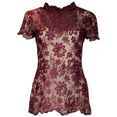 Valentino Boutique Burgundy Floral Lace Scalloped Short Sleeve Top Sz M