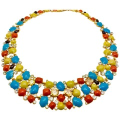 Meghna Jewels Enamel Florence Necklace Earrings Bracelet Set