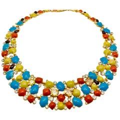 Meghna Jewels Enamel Florence Necklace Earrings Bracelet Set