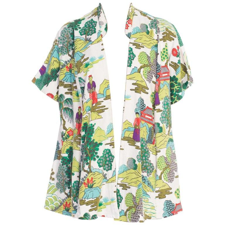 1950s Asian Scenic Barkcloth Kimono Jacket
