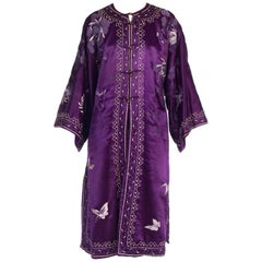 Antique Hand Embroidered Purple Silk Chinese Kimono Robe Coat